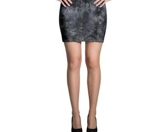 Black grey tie dyed Mini Skirt