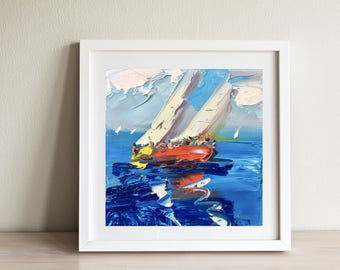 Sailing Art Regatta Painting Boat Race Ocean Painting Wave Painting Sea Art Sailing Ship Painting Husband Gifts Him Gifts for Dad Gifts Men