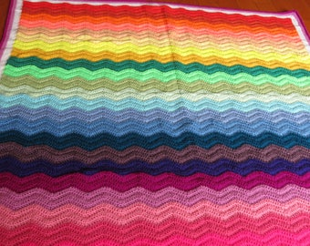 Multi Coloured Wave baby/toddler Blanket/Afghan/Throw