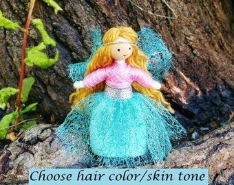 Fairy Doll - Fairy Garden - Fairy Wings -  Waldorf Fairy - Bendy Doll - Flower Fairy - Tiny Fairy - Mini Fairy Doll