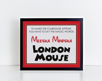 DIGITAL Welcome Sign Inspired by Mickey Mouse Club with Clubhouse Password - Black, White, Red in Fun Fonts