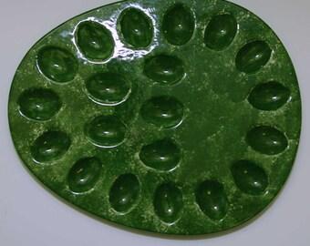 New Ceramic 20 Divot Egg Plate Green