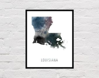 Louisiana Map Print, Printable Louisiana State Map, Louisiana Art Print, Louisiana Printable Wall Art, Watercolor Map, Louisiana Poster
