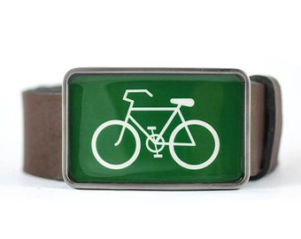 Bike Belt Buckle, Sport Belt Buckle, Bicycle belt buckle, Green belt buckle, bike gift idea