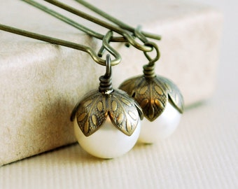 Ivory Pearl Earrings Antiqued Brass Genuine Swarovski Beads Kidney Earwires Wire Wrapped Woodland Jewelry