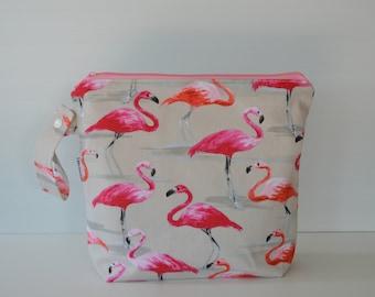 Large Wet Bag, swim bag, nappy bag, waterproof bag, travel bag - Flamingo