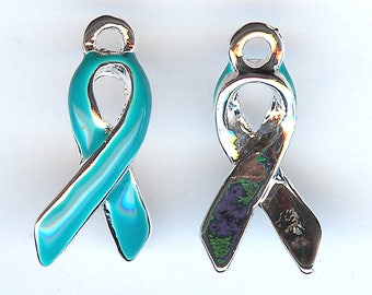 AWARENESS RIBBON Charm. Silver Plated Enamel. My Best One Sided Teal Awareness Ribbon. Ovarian Cancer. dlt
