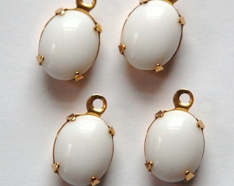 Vintage Opaque White Oval Stones in 1 Loop Brass Setting ovl005G