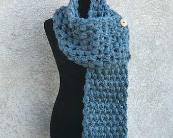 Ready to ship Chunky Blue Scarf