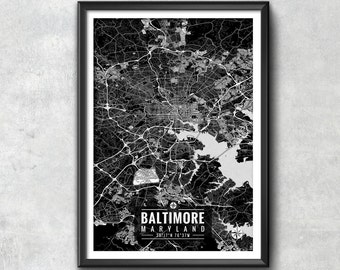BALTIMORE Maryland Map with Coordinates, Baltimore Map, Map Art, Baltimore Print, Baltimore Art, Baltimore Gift,  Baltimore Decor, Baltimore