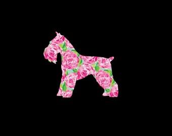 Schnauzer, Mini Schnauzer Patterned Vinyl Decal!  Miniature Schnauzer Dog, Puppy, Choose your Pattern and Size!