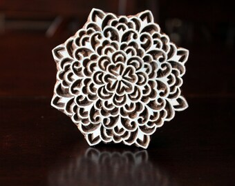Indian Hand Carved Wood Block Stamp- Beautiful Floral Motif