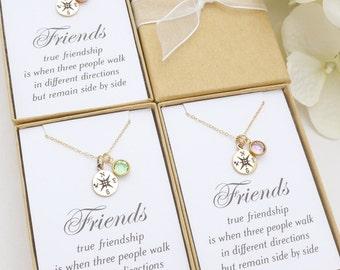 Best Friend Gift, Sister Gift, Best Friend Necklace, Sister Necklace, Compass Necklace, Personalized Custom Birthstone Necklace, BFF Gift