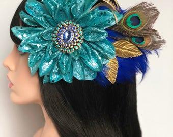 Large blue flower fascinator