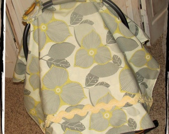 Carseat Canopy - Linen Optic Blossom Carseat Canopy-Ready 2 Ship