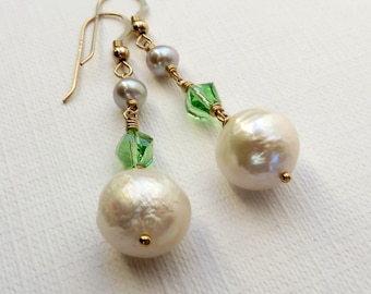 Baroque Pearls and Peridot Crystal Gold Earrings