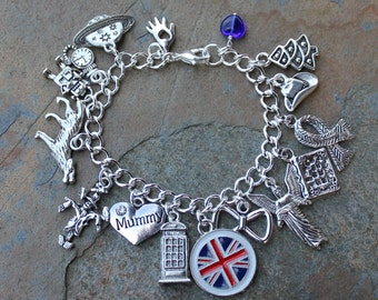 Time Lord Themed Silver Charm Bracelet- Police Box, Angel, Wolf, British Flag, Scarf, Scarecrow, Hand, Bow tie- Free shipping USA - Whovian
