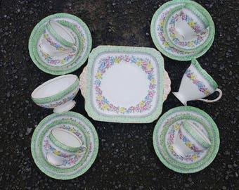 Vintage Foley Green China Tea Set Cups Saucers Side Plates  Cake Plate Milk Creamer and Sugar Floral - Tea Party Wedding, Tea Room Crockery