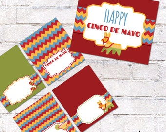 Cinco de Mayo Place Cards or Food Tent Cards with Sign. Mexican Fiesta Tent Cards and Party Sign. DIY Party Decor. *INSTANT DOWNLOAD*