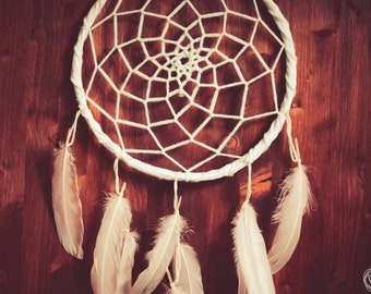 Dream Catcher - Pure Feathers - With White Handmade Web and Pure Rose Feathers - Boho Home Decor, Nursery Mobile