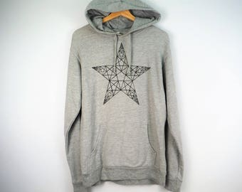 Geometric Fractal Star Hoodie Hand Drawn Hoody Art Fabric Art Sacred Geometry Hooded Pullover by Bare Canvas