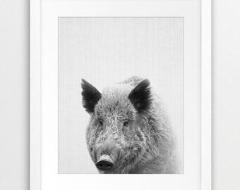 Wild Boar Print, Woodlands Animal Wall Art, Nursery Animal Decor, Black And White Wild Boar Photography, Boys Room Decor, Printable Art