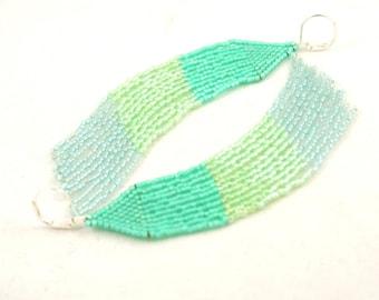 Beaded Fringe Earrings . Seed Bead Fringe . Long Fringe Earrings . Beadweaving Jewelry . Summer Beach Jewelry . Mermaid Colors
