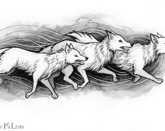 Wolves_Ink Drawing_Inktober