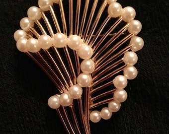 Trifari Faux Pearl Brooch / Pin