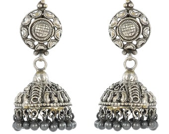 Antique Indian Jhumki Earrings made in 925 Sterling Silver with silver beads