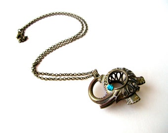 Elephant Necklace, Cage Necklace, Good Luck Necklace, Elephant Trunk Up Necklace, Elephant Locket, Elephant Jewelry