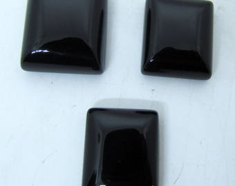 3 PC Natural Black Onyx Square Shape Free Size Cabochon Stone