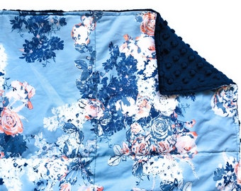 Weighted Blanket- Adult Size (40x60 inches) Blossom Blue