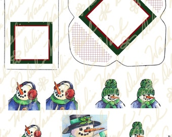 Snowman Gift Tag Set - Digital Gift Tag Collage Sheet - Clip Art - Instant Download - Printable Files - JPG & PDF - Cards - Crafting