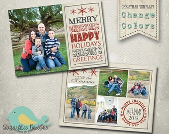 Christmas Card PHOTOSHOP TEMPLATE - Family Christmas Card 97