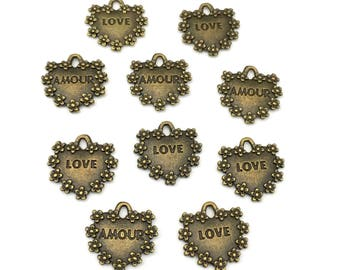 10 heart charms ,love amour recto verso,metal bronze tone ,17mm #CH 313