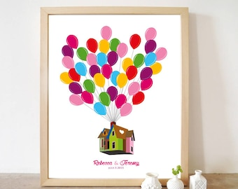 Personalized Printable Custom Wedding Guest Book UP, Unique Guestbook Disney Signatures Alternative Movie Balloons house Design Print poster