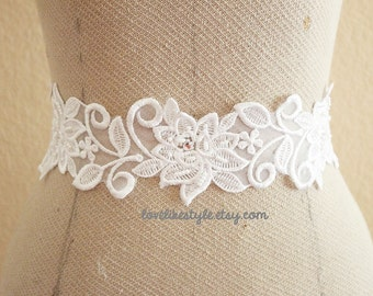 White Flower Lace with White Satin Sash // Bridal Sash, Bridesmaid Sash  // SH-03
