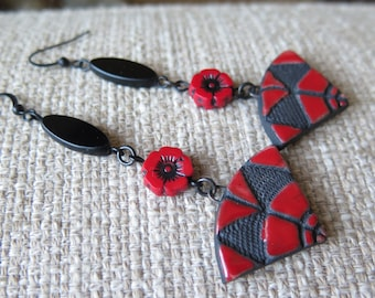 red and black earrings, modern earrings, raku earrings, long red earrings, black earrings, red earrings, contemporary earrings, Valentine