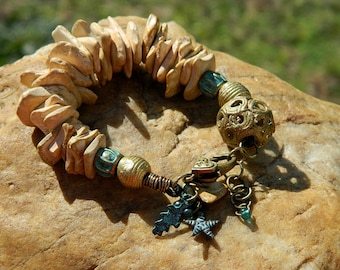 Natural Wood Bead Boho Bracelet