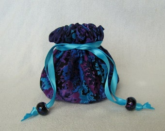 Jewelry Tote - Medium Size - Drawstring Pouch - Fabric Travel Bag - NIGHT VIOLET