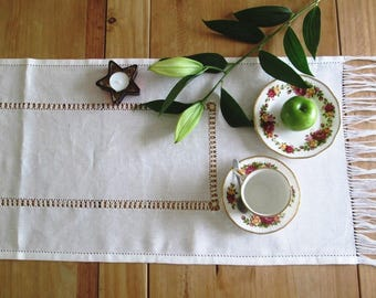 Linen table runner straight ending, table runner with fringes, drawn-thread-embroidery tablecloth