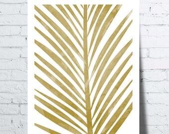 Poster gold tropical, palm leaf, leaf, Palm