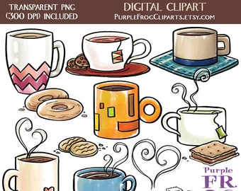 COFFEE AND TEA - Digital Clipart, Clip art. 15 images, 300 dpi. jpeg, png files. Instant download.
