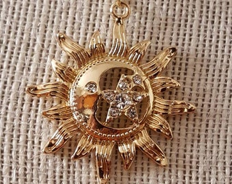 Sun, Moon and Star Pendant Necklace