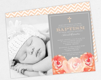 Photo Baptism Invitation, Christening Invitation, Girl Baptism, Printable Baptism Invitation, PDF, Floral, Watercolor Flowers, Peach, Haley