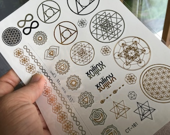 Sri Yantra Temporary Gold Silver Tattoos Dance Festival Sacred Geometry Flower of Life Infinity Chakras Flash Tattoos