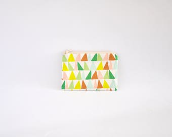 Small Coin Purse, Change Purse, Coin Pouch, Zipper Pouch, Makeup Pouch, Cosmetic Pouch, Card Pouch, Card Holder - Geometric Triangles