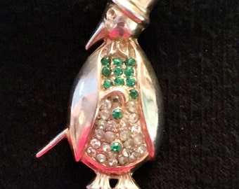 Rhinestone Penguin Brooch / Pin