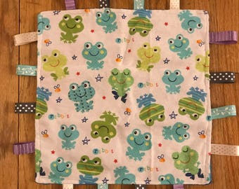 Baby Ribbon Blanket - Blue Frogs
